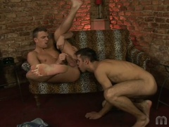 Two gay boys do some ass licking and fingering