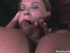 Hot woman Sara Stone with big pointer sisters gets her throat fucked with no mercy by man with rigid cock. She takes his meat pole so unfathomable that touches his balls with her lips from time to time.