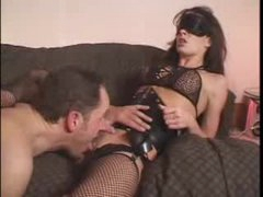 Blindfolded slut in corset licked and fucked