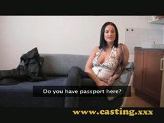 Casting Nice natural breasts get sprayed