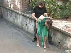 A load of cum on her face, outside (Kink » Public Disgrace)
