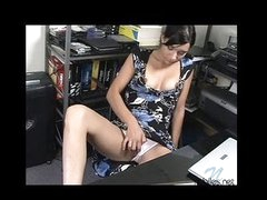 Cute carmi sits and plays with her toy over her panties