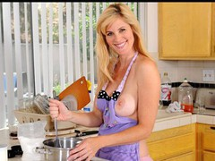 Cougar beauty Kate Kastle bonks herself on the kitchen counter