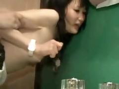 Asian couple in bathroom