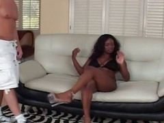 Hot busty ebony gets two white cocks and blows with DP and anal