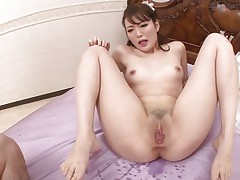 asian cum-hole swallows a large hairy ramrod