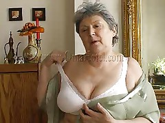 granny undresses and masturbates for us