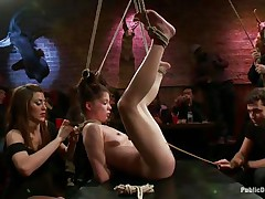 nice-looking chick tied up and fucked