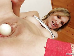 czech chick wearing red pantyhose gaping her pussy