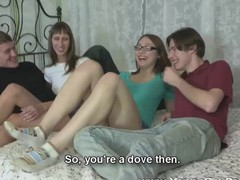 Girlfriends fucked in a four-way