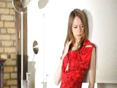 Ultra beautiful skinny girl undressing