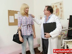 Golden-haired paris visits naughty old gyno doctor to have her pussy examined