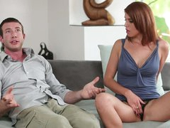 Red-haired beauty goddess Kristine Crystalis spreads her legs side by side with handsome guy. She touches her pussy and shows off her boobs in advance of engulfing sausage.