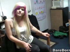 Cuties and guys kill time playing soccer in the dorm room. Girl with blonde and pink hair has fun with latino boy and her roommate. Watch them kick ball and score!