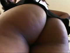 Cute ebony aaliyah jiggles her ass and sucks cock